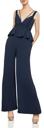 BCBGMAXAZRIA Wide-Leg Peplum Jumpsuit