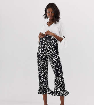 Asos DESIGN Maternity pants with fluted ruffle hem in mono animal print