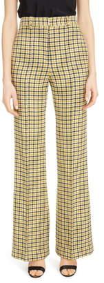 Victoria Beckham Houndstooth High Waist Wool Blend Wide Leg Pants