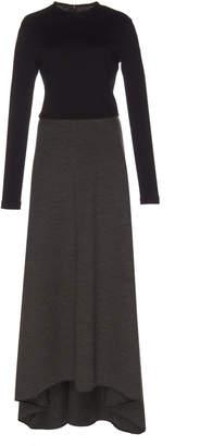 Martin Grant Asymmetric Two-Tone Wool-Blend Jersey Maxi Dress