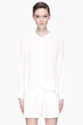 See by Chloe Textured white dolman sleeve blouse