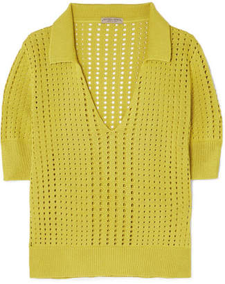 Pointelle-knit Silk Top - Chartreuse