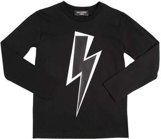 Neil Barrett Bolt Printed Cotton Jersey T-Shirt