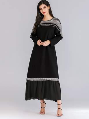 Shein Contrast Chiffon Ruffle Hem Dress