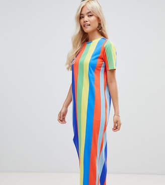 Asos DESIGN Petite ultimate t-shirt maxi dress in rainbow stripe