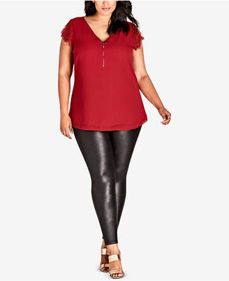 City Chic Trendy Plus Size Lace-Sleeve Zippered Top