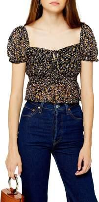 Topshop Ditsy Floral Lace Crop Top