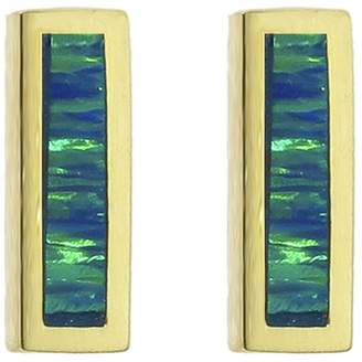 Jennifer Meyer Short Opal Inlay Bar Stud Earrings - Yellow Gold