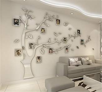 Missey 3D DIY Huge Tree Photo Frame Wa Sticker Wa Sticker Removabe Branches and Picture Frames Foriving Room Bedroom Decoration (Siver-eft,)