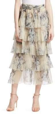 Johanna Ortiz Journey of the Soul Tiered Silk Midi Skirt
