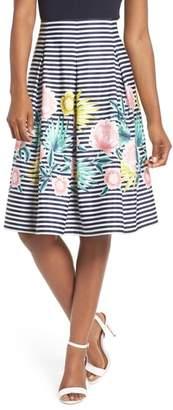 Eliza J Floral & Stripe A-Line Skirt