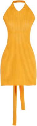 Tibi Cutout Ribbed-Knit Halter Top