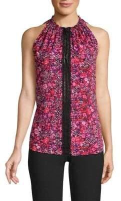 Elie Tahari Bessie Floral-Print Silk Sleeveless Blouse