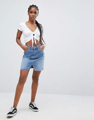 New Look Denim Cut Off Mini Skirt
