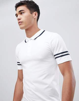 ONLY & SONS Polo Shirt With Arm Stripe In Muscle Fit