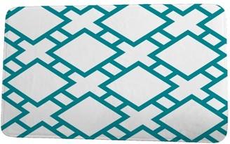Simply Daisy 24 x 36 Inch Palm Beach Square in St. Louis Blue Geometric Print Bath Mat