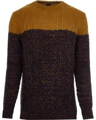 River Island Yellow cable knit color block sweater