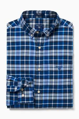 Next Mens GANT Blue Winter Twill Plaid Shirt
