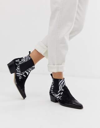 Asos Snapdragon leather western ankle boots in black and zebra