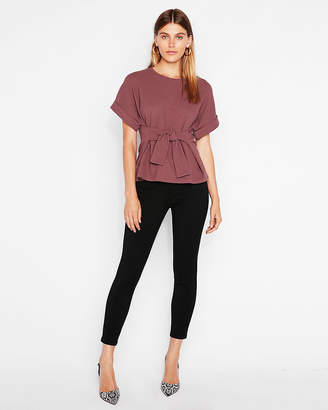Express Textured Tie Waist Rolled Sleeve Tee