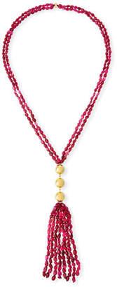 NEST Jewelry Beaded Quartz Tassel Necklace