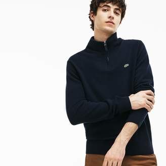 Lacoste Men's Zippered Stand-Up Collar Merino Wool Jersey Sweater