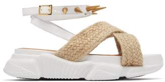 Marques Almeida Marques'almeida - Raffia Trimmed Studded Rubber Sole Sandals - Womens - White
