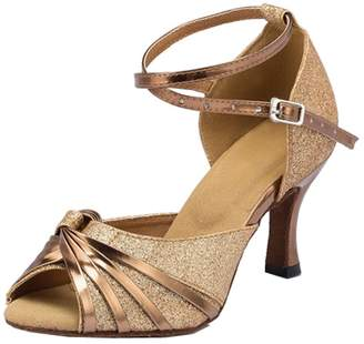 TDA Womens Ankle Strap Synthetic Glitter Knot Latin Modern Salsa Tango Ballroom Wedding Dance Shoes