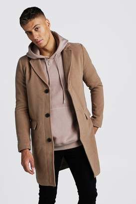 boohoo Single Breasted Wool Mix Overcoat