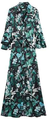 Banana Republic Botanical Print Flutter-Sleeve Maxi Shirt Dress