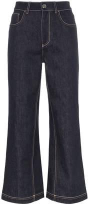 Fendi cropped wide leg logo detail jeans