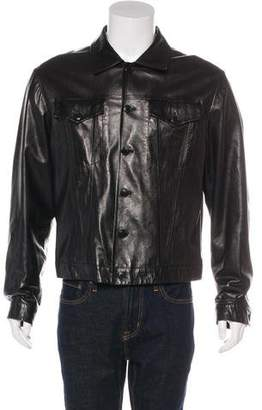 Helmut Lang Vintage Leather Button-Up Jacket