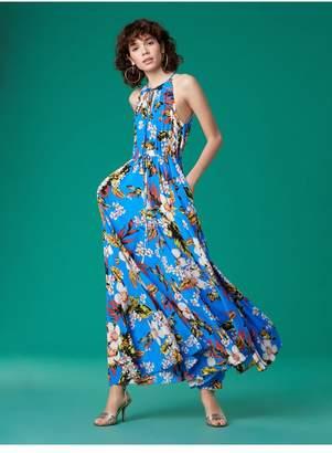 Diane von Furstenberg Key Hole Waist Tie Maxi Dress