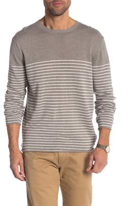 Onia Kevin Striped Linen Blend Long Sleeve Tee