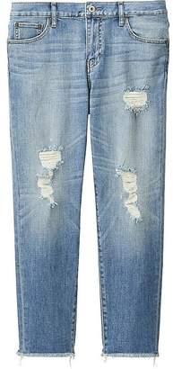 UNIQLO Women's Slim Boyfriend Fit Ankle Jeans $39.90 thestylecure.com