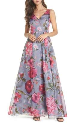 Adrianna Papell Flower Print Organza Gown
