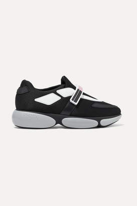 Prada Cloudbust Logo-print Rubber And Leather-trimmed Mesh Sneakers - Black