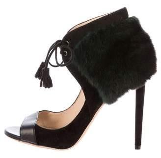 Chloé Gosselin Plumeria Fur-Trimmed Sandals