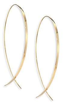 """Lana Women's Upside Down Large 14K Yellow Gold Flat Hoop Earrings/1.25"""""""