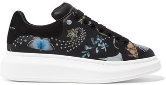 Alexander McQueen - Suede-trimmed Printed Leather Sneakers - Black $595 thestylecure.com