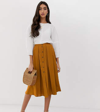 Asos Tall DESIGN Tall button front floaty midi skirt with pleats
