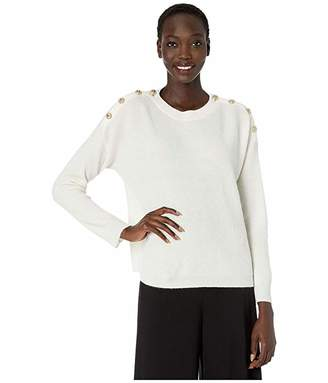The Kooples Crew Neck Pullover with Large Silver Buttons on Shoulders