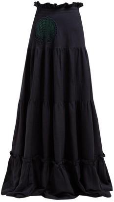 Adriana Degreas Marine Embroidered Linen Blend Skirt - Womens - Navy