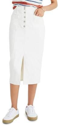 Madewell High Slit Denim Midi Skirt