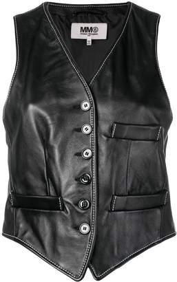 MM6 MAISON MARGIELA cropped leather waistcoat