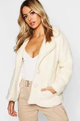 boohoo Petite Button Front Teddy Coat