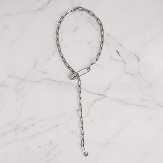 Burberry Kilt Pin Palladium-plated Long Link Drop Necklace