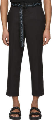 D by D Black Thorn Tape Belt Trousers
