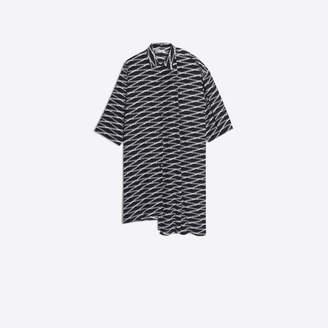 Balenciaga Asymmetrical monogram print shirt dress