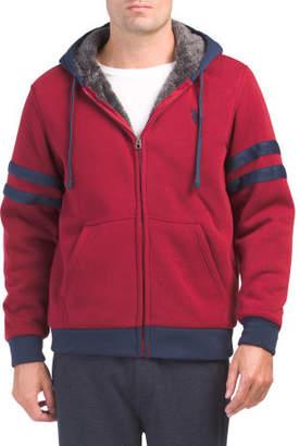 Stripe Sleeve Sherpa Lined Hoodie